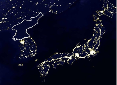 Map over North Korea that shows no light at night.